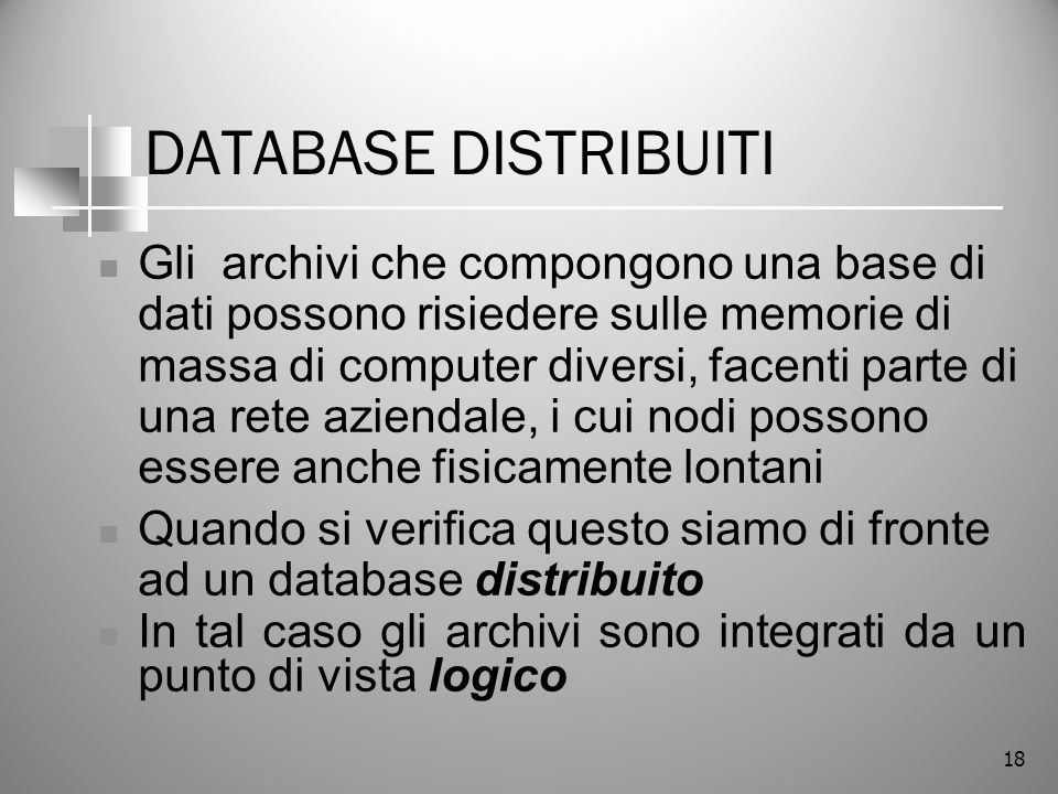 DATABASE DISTRIBUITI