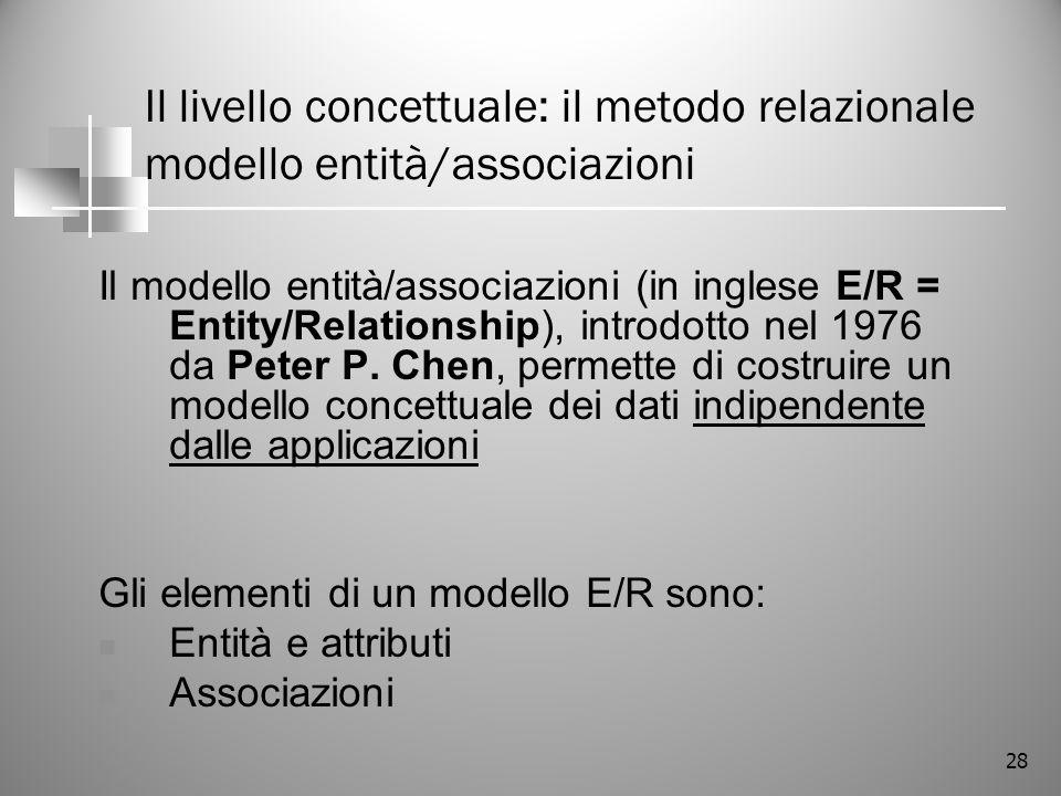 Il livello concettuale: il metodo relazionale modello entità/associazioni