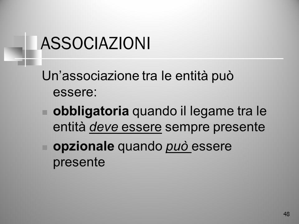 ASSOCIAZIONI Un'associazione tra le entità può essere: