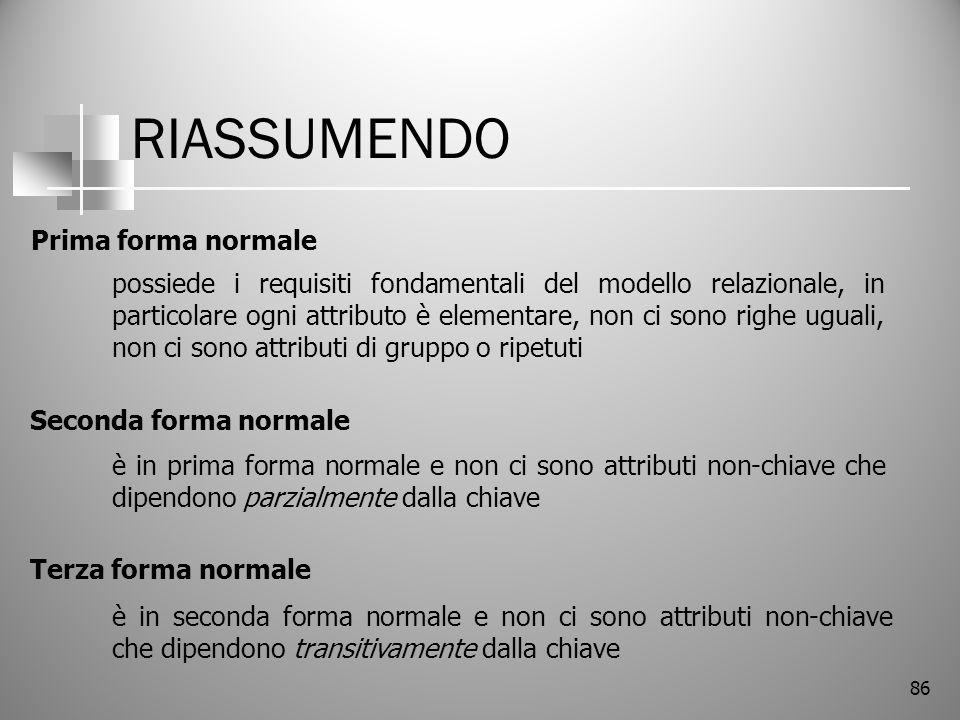 RIASSUMENDO Prima forma normale