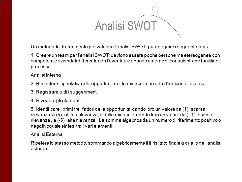 Analisi SWOT Un metododo di riferimento per valutare l'analisi SWOT puo' seguire i seguenti steps :