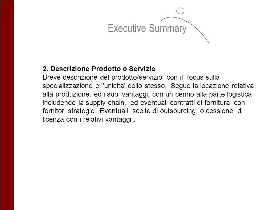 Executive Summary 2. Descrizione Prodotto o Servizio