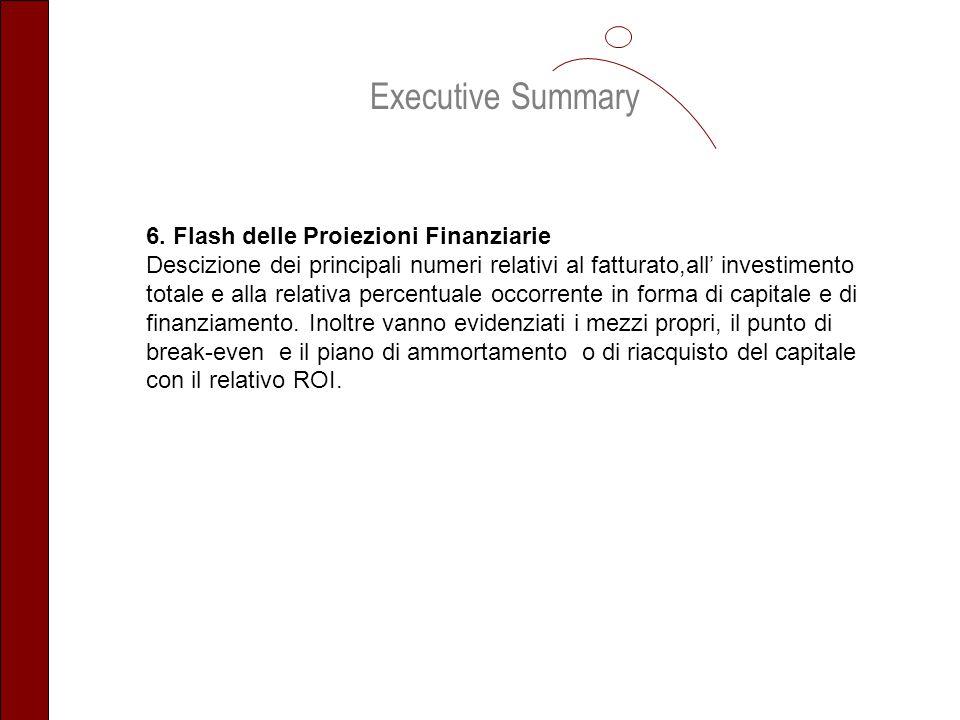 Executive Summary 6. Flash delle Proiezioni Finanziarie