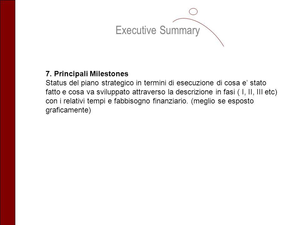 Executive Summary 7. Principali Milestones