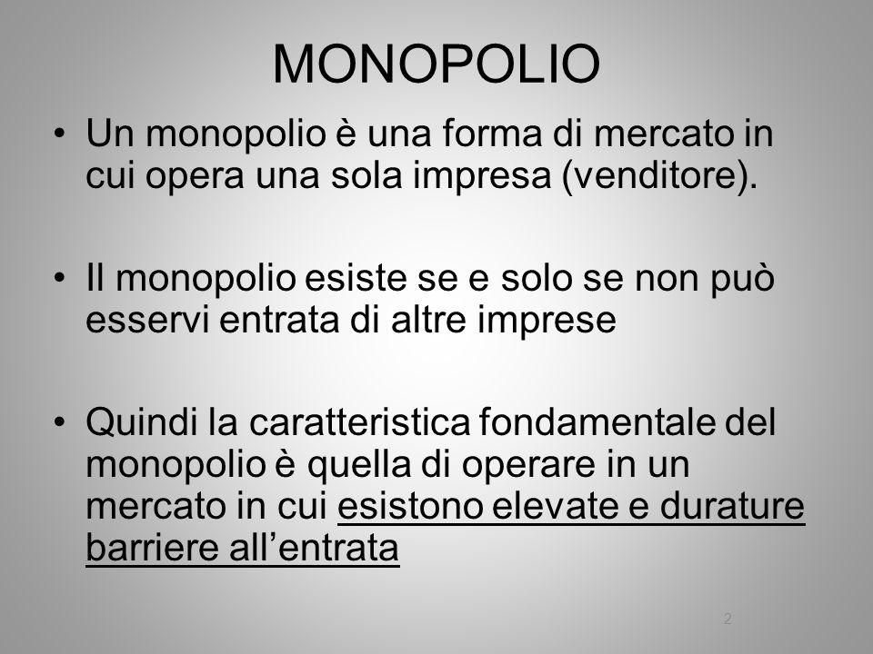 MONOPOLIO Un monopolio è una forma di mercato in cui opera una sola impresa (venditore).