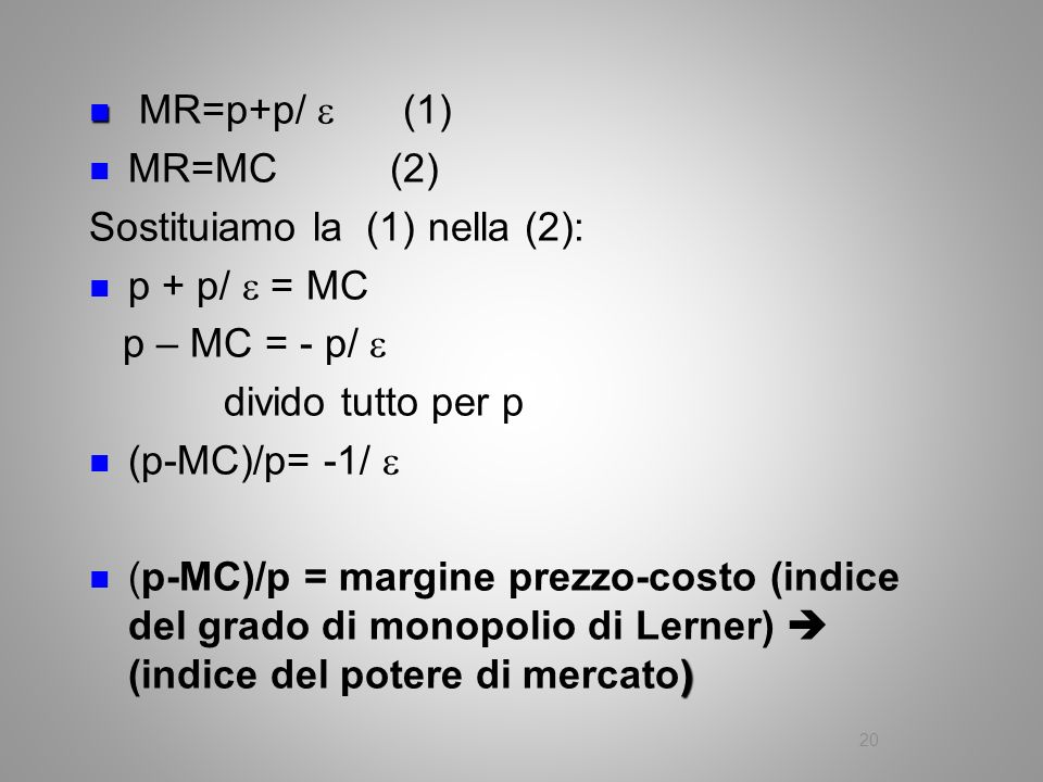 MR=p+p/  (1) MR=MC (2) Sostituiamo la (1) nella (2): p + p/  = MC. p – MC = - p/ 