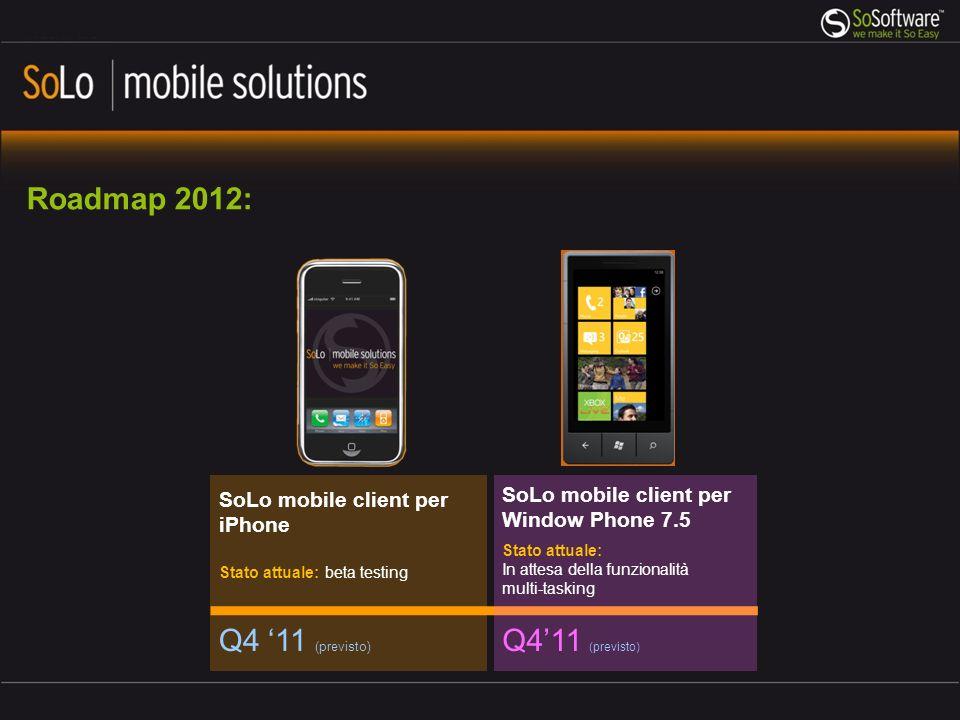 Roadmap 2012: Q4 '11 (previsto) Q4'11 (previsto)