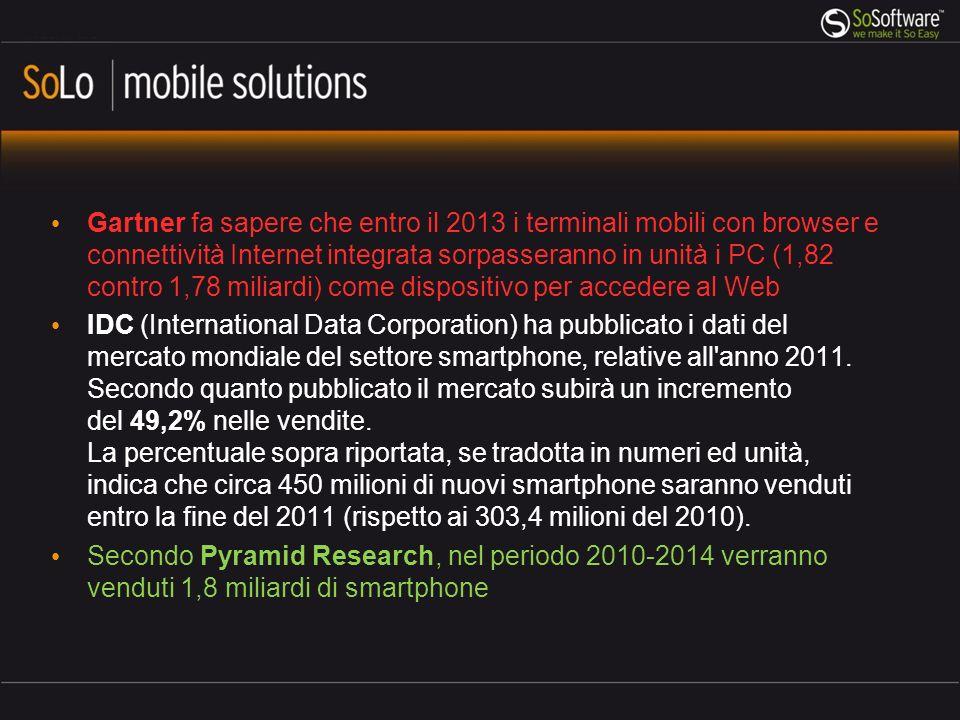 Gartner fa sapere che entro il 2013 i terminali mobili con browser e connettività Internet integrata sorpasseranno in unità i PC (1,82 contro 1,78 miliardi) come dispositivo per accedere al Web
