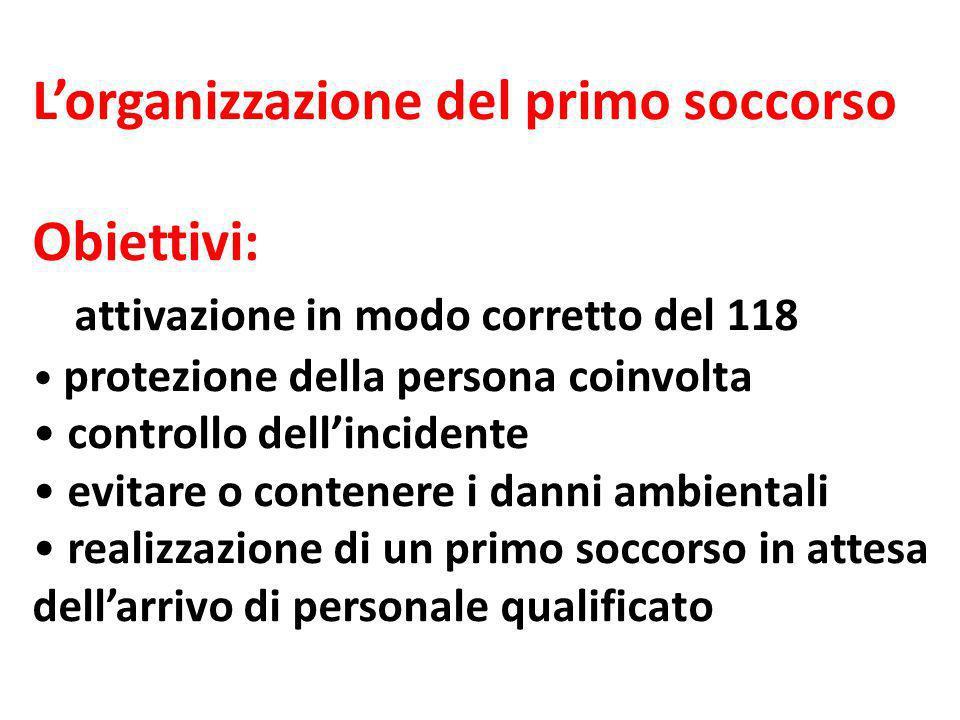 L'organizzazione del primo soccorso Obiettivi: