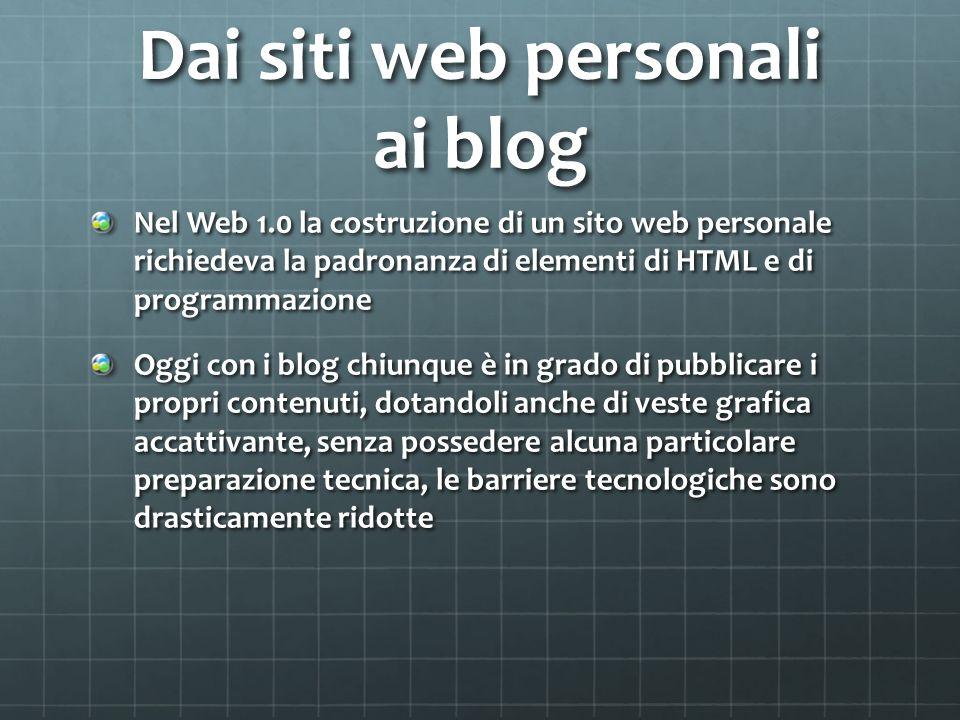 Dai siti web personali ai blog