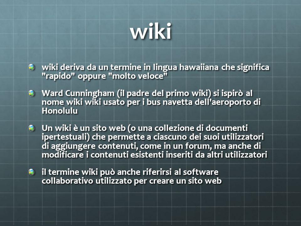 wiki wiki deriva da un termine in lingua hawaiiana che significa rapido oppure molto veloce