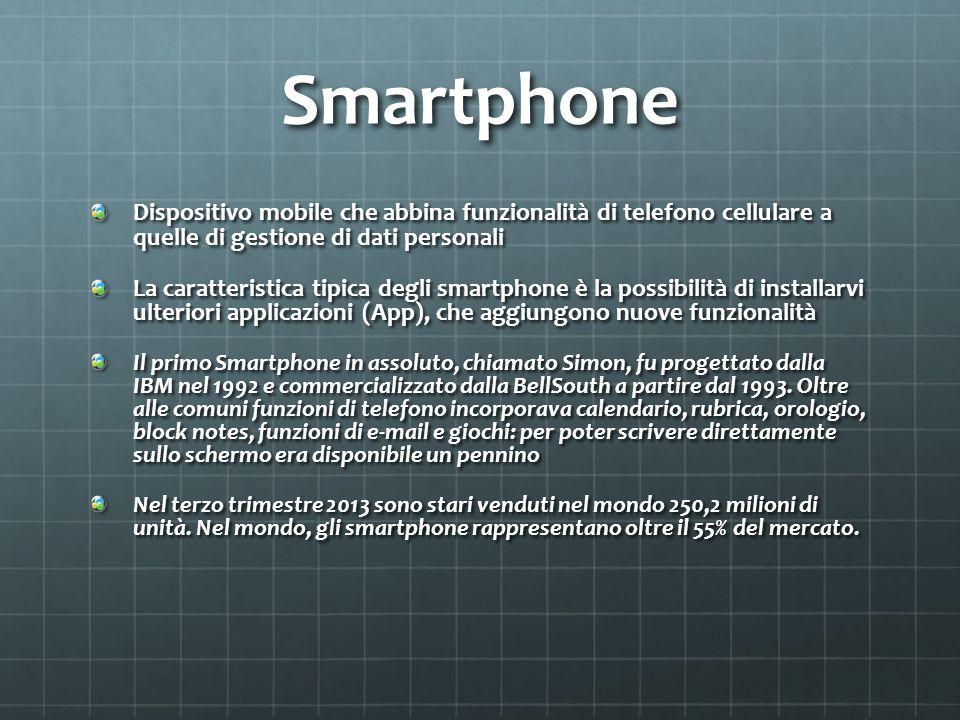 Smartphone Dispositivo mobile che abbina funzionalità di telefono cellulare a quelle di gestione di dati personali.