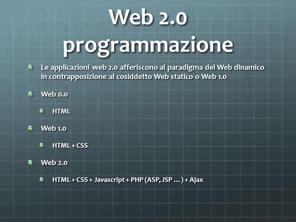 Web 2.0 programmazione Le applicazioni web 2.0 afferiscono al paradigma del Web dinamico in contrapposizione al cosiddetto Web statico o Web 1.0.