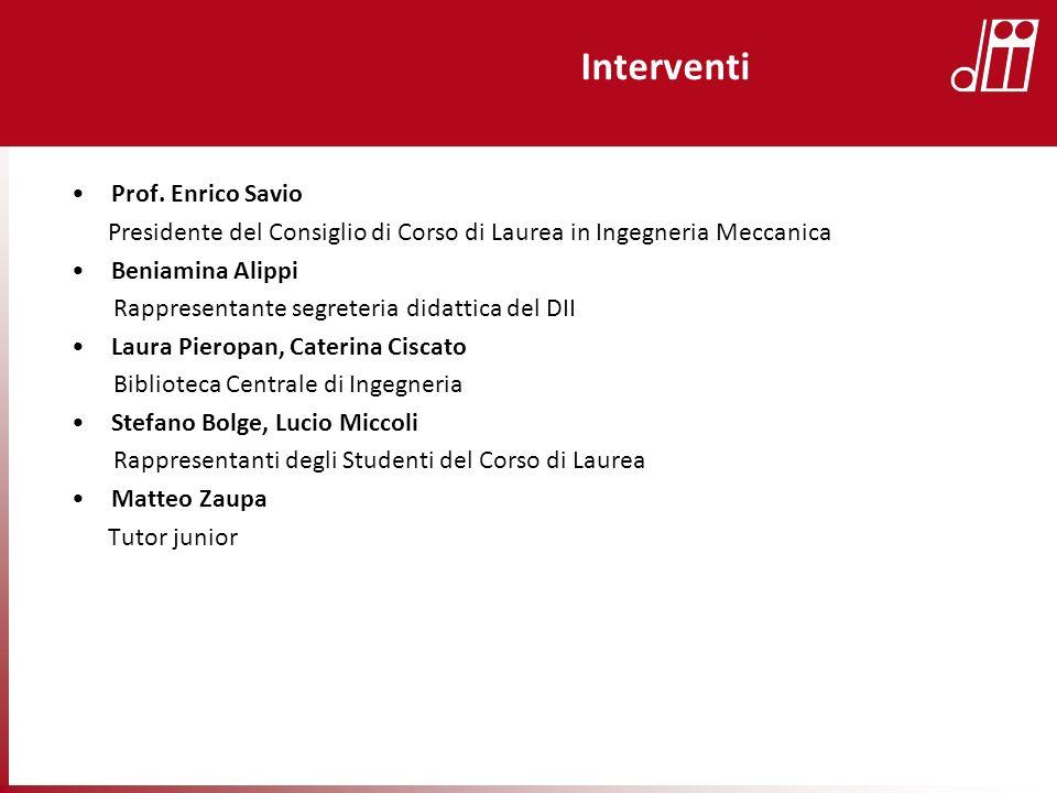 Interventi Prof. Enrico Savio