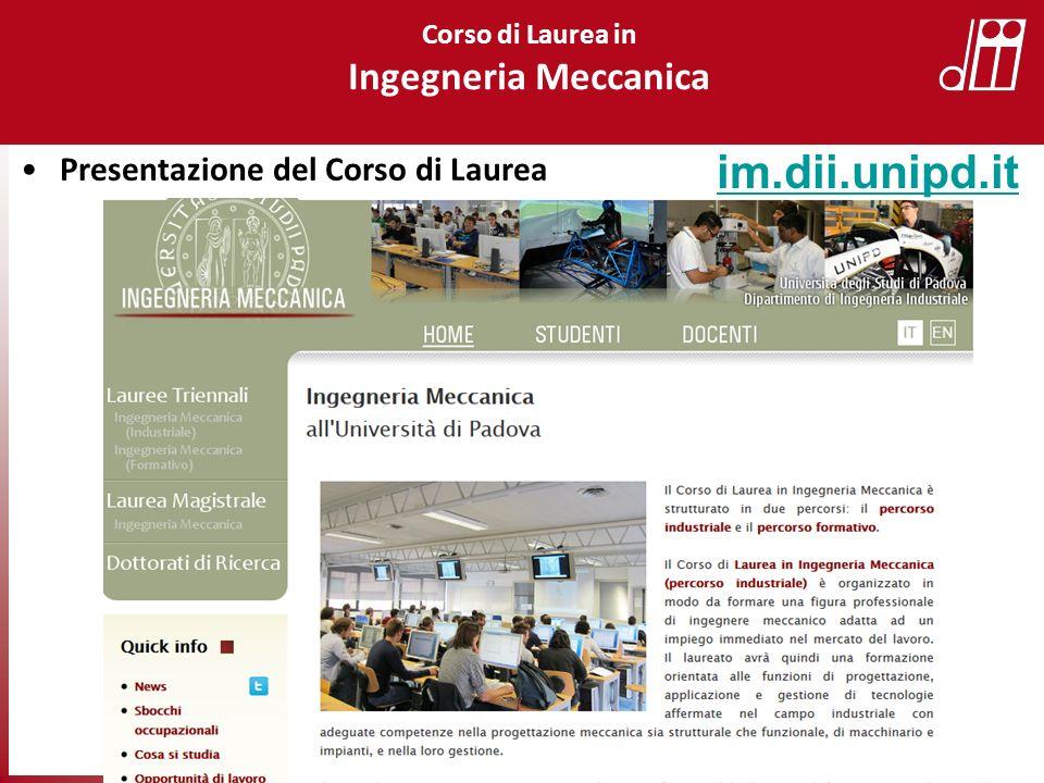 im.dii.unipd.it Ingegneria Meccanica Presentazione del Corso di Laurea