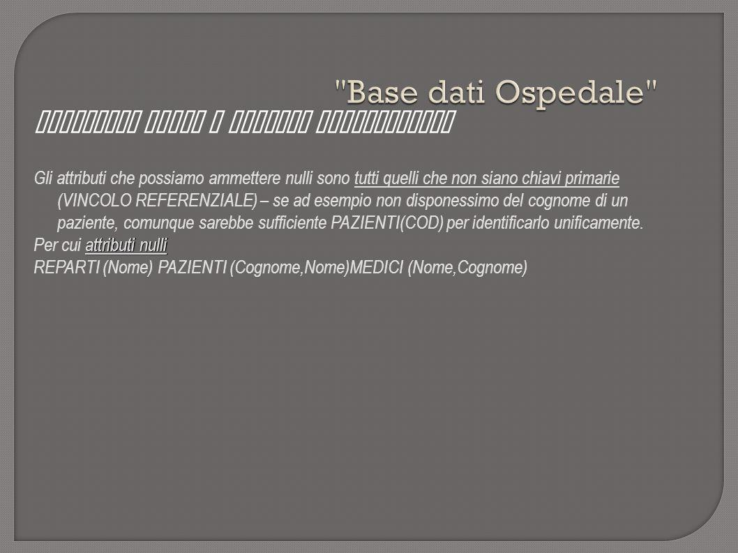 Base dati Ospedale Attributi nulli e vincoli referenziali