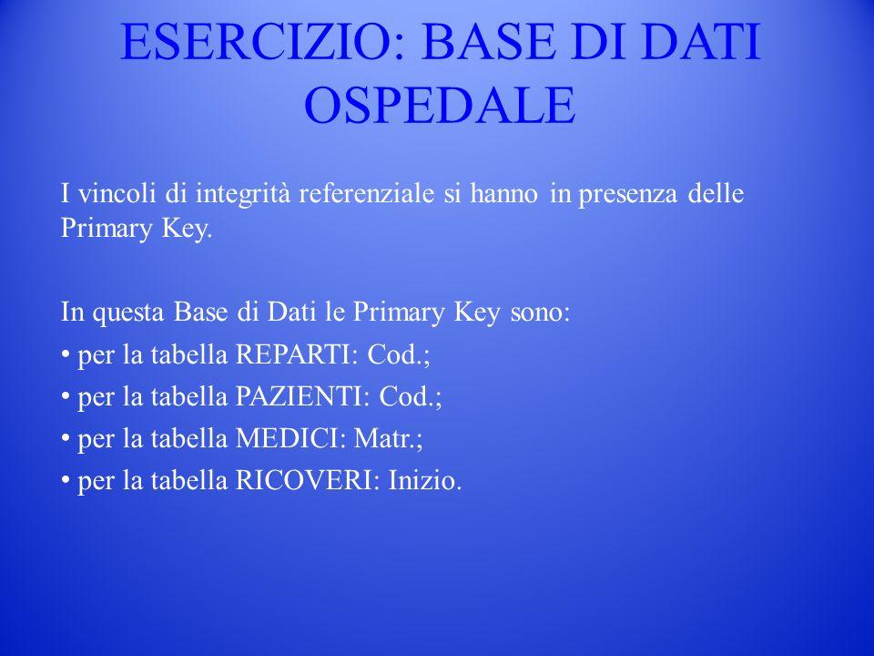 ESERCIZIO: BASE DI DATI OSPEDALE