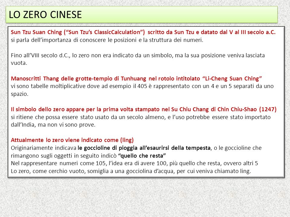 LO ZERO CINESE Sun Tzu Suan Ching ( Sun Tzu's ClassicCalculation ) scritto da Sun Tzu e datato dal V al III secolo a.C.