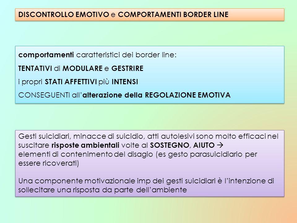 DISCONTROLLO EMOTIVO e COMPORTAMENTI BORDER LINE