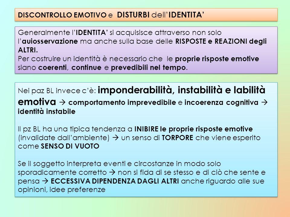 DISCONTROLLO EMOTIVO e DISTURBI dell'IDENTITA'