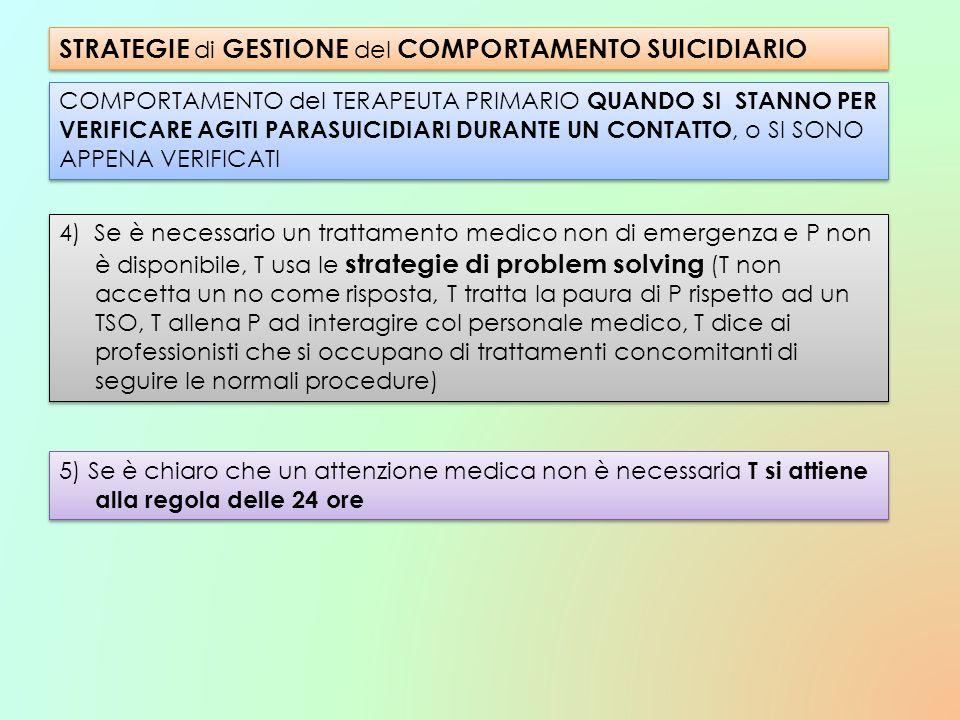STRATEGIE di GESTIONE del COMPORTAMENTO SUICIDIARIO