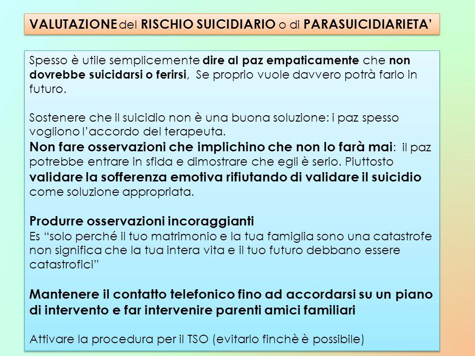 VALUTAZIONE del RISCHIO SUICIDIARIO o di PARASUICIDIARIETA'