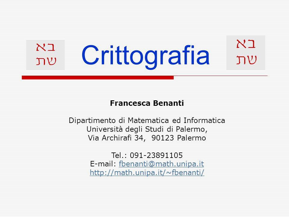 Crittografia Francesca Benanti