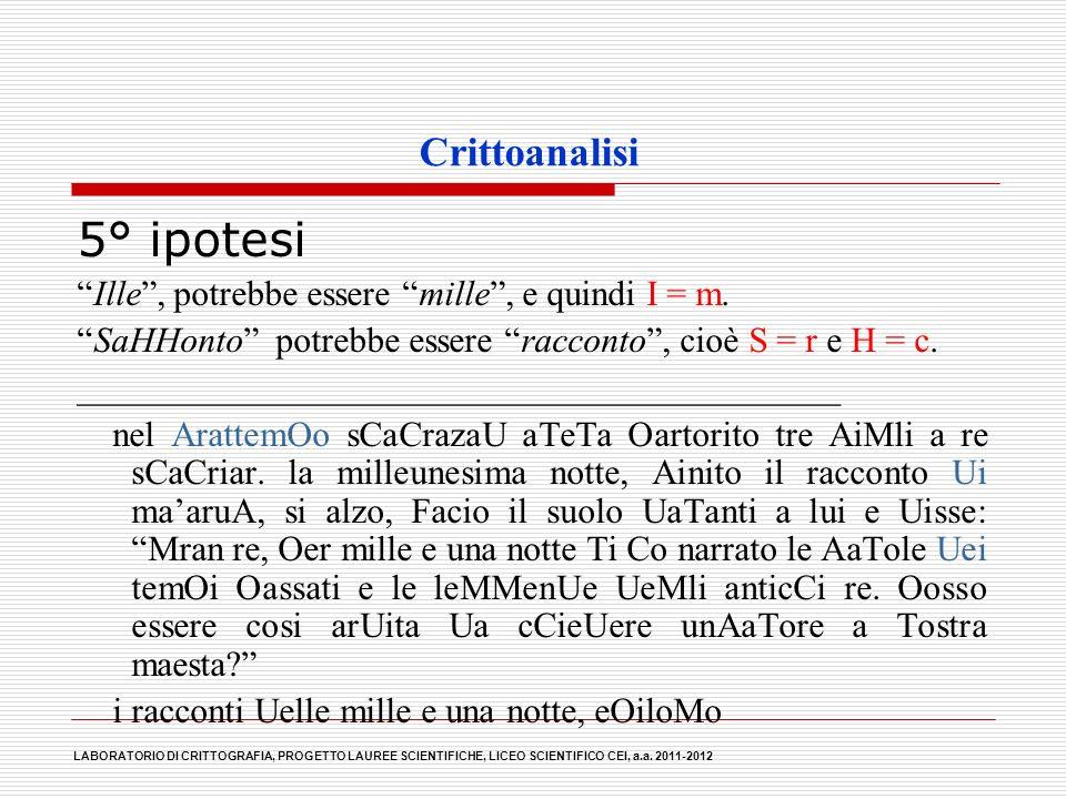 5° ipotesi Crittoanalisi
