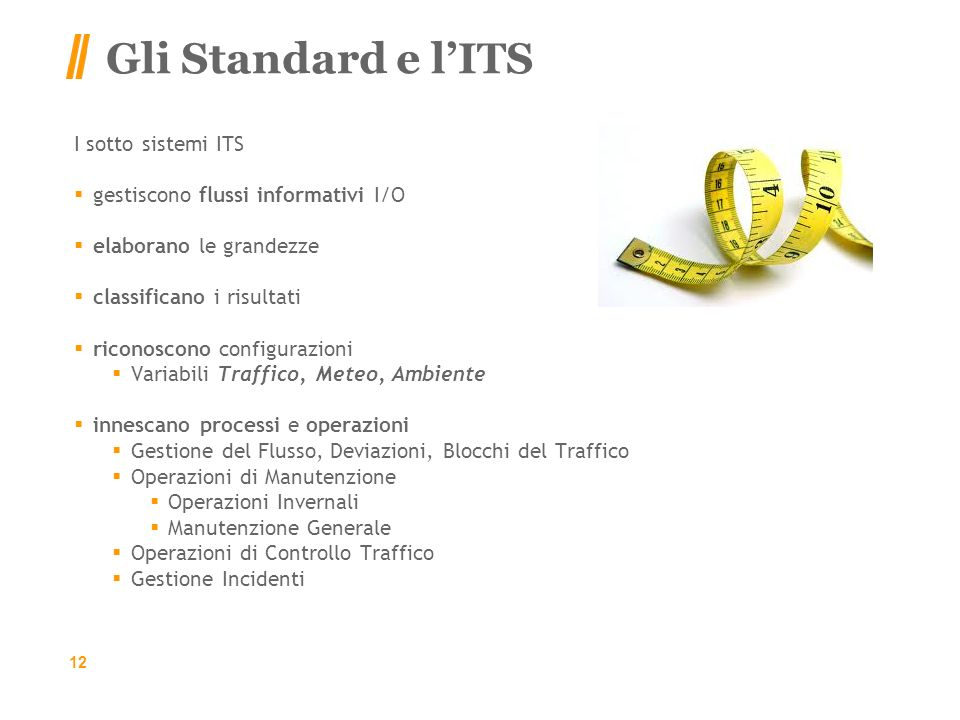 Gli Standard e l'ITS I sotto sistemi ITS