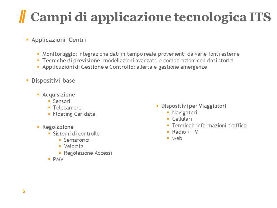 Campi di applicazione tecnologica ITS