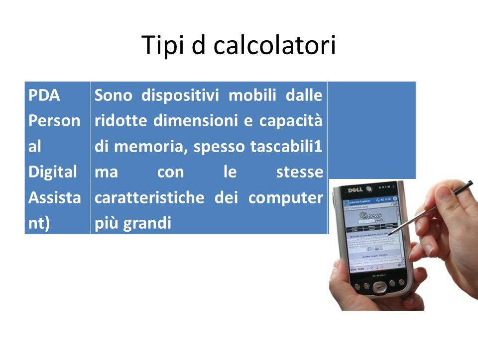 Tipi d calcolatori PDA Personal Digital Assistant)
