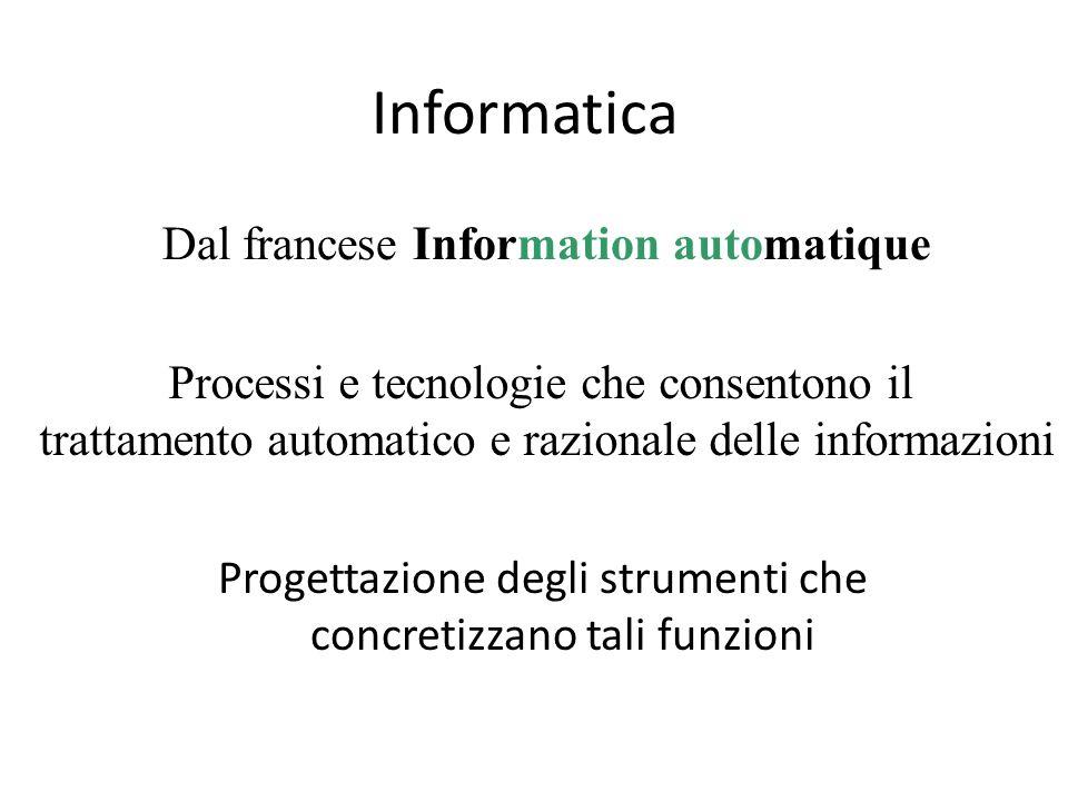 Informatica Dal francese Information automatique