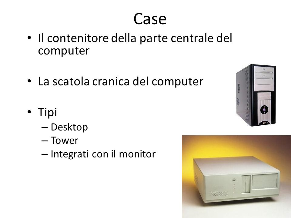 Case Il contenitore della parte centrale del computer