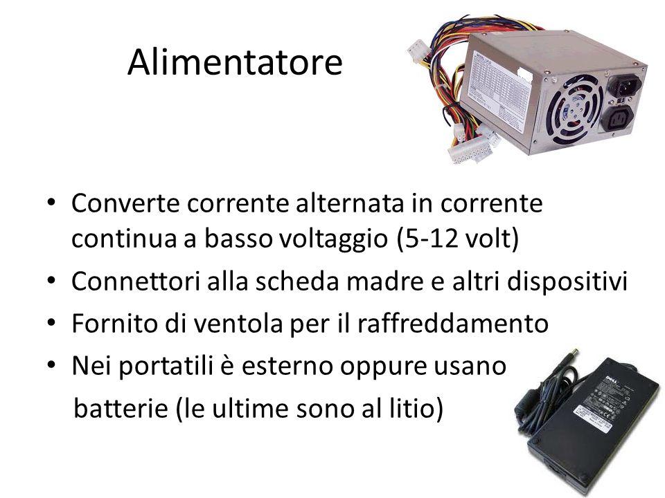 Alimentatore Converte corrente alternata in corrente continua a basso voltaggio (5-12 volt) Connettori alla scheda madre e altri dispositivi.