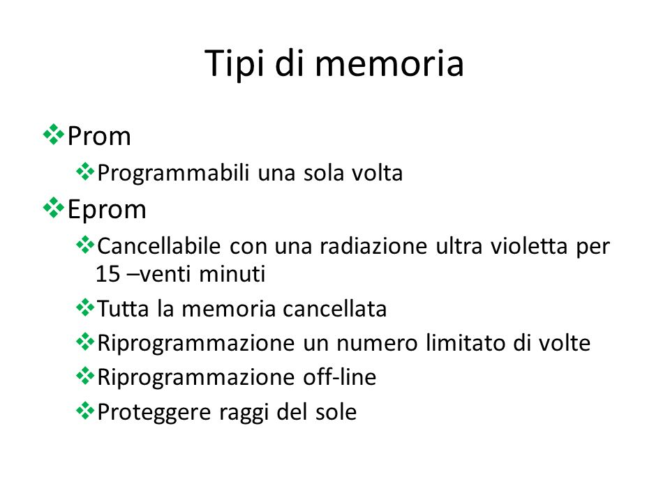 Tipi di memoria Prom Eprom Programmabili una sola volta