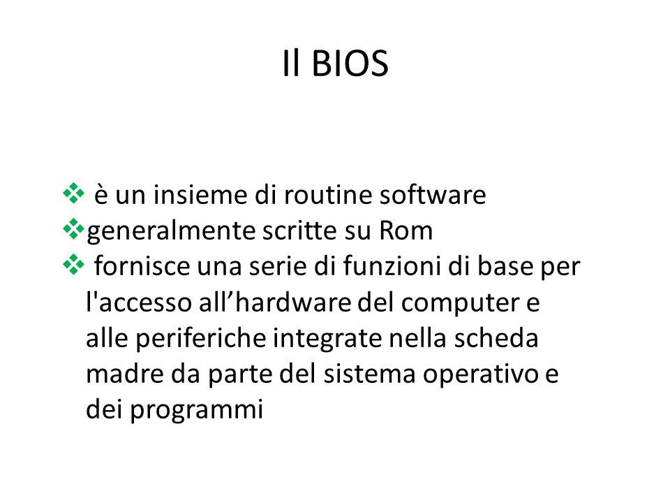 Il BIOS è un insieme di routine software generalmente scritte su Rom