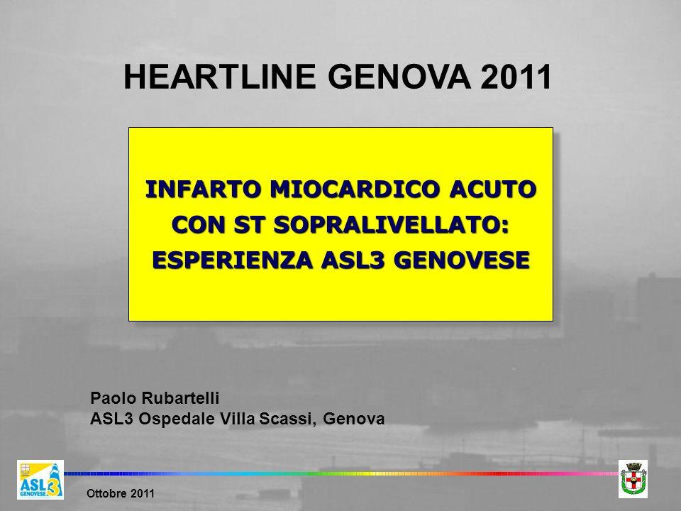 HEARTLINE GENOVA 2011 INFARTO MIOCARDICO ACUTO CON ST SOPRALIVELLATO: ESPERIENZA ASL3 GENOVESE. Paolo Rubartelli.