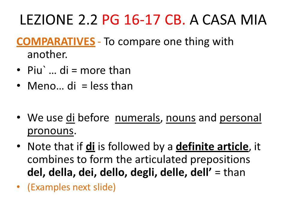 LEZIONE 2.2 PG 16-17 CB. A CASA MIA
