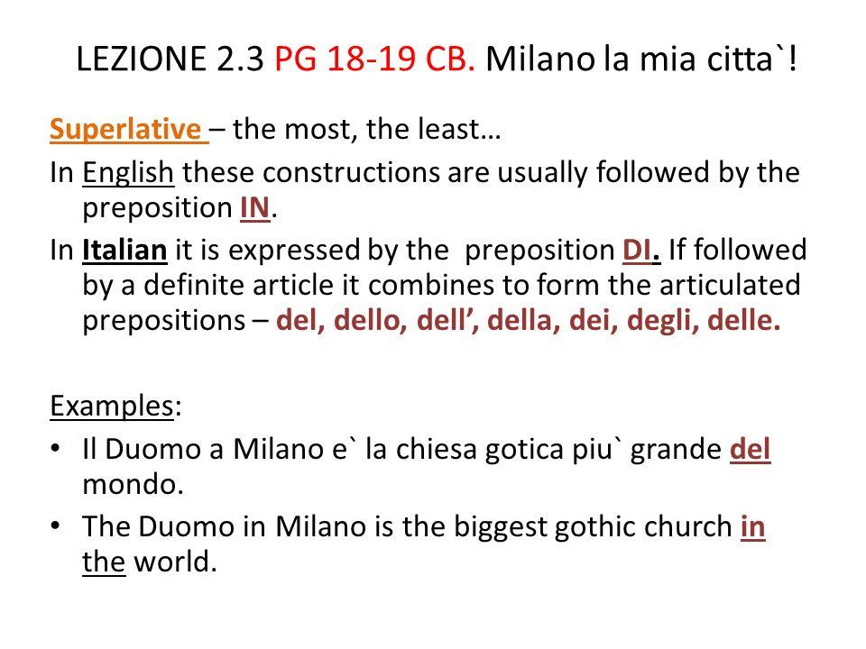 LEZIONE 2.3 PG 18-19 CB. Milano la mia citta`!