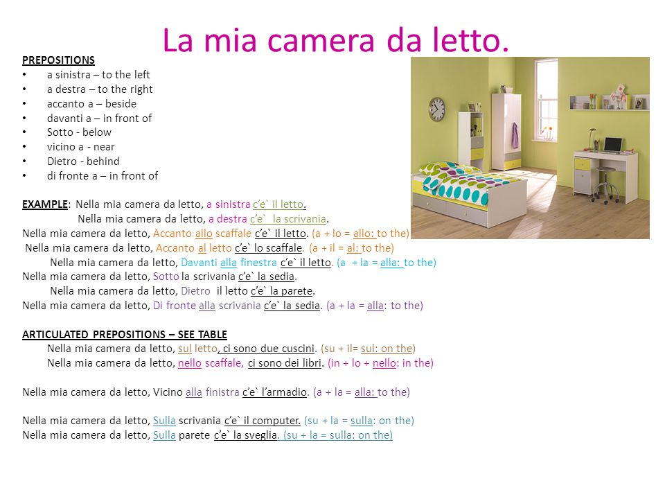 La mia camera da letto. PREPOSITIONS a sinistra – to the left