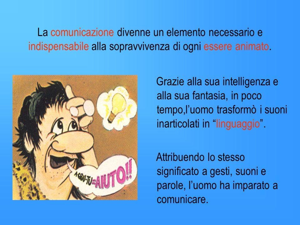 La comunicazione divenne un elemento necessario e indispensabile alla sopravvivenza di ogni essere animato.