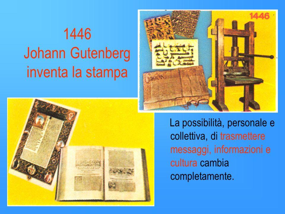 1446 Johann Gutenberg inventa la stampa