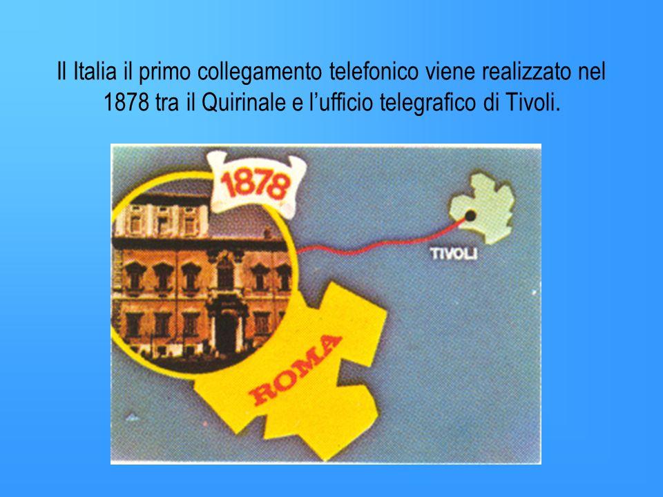 Il Italia il primo collegamento telefonico viene realizzato nel 1878 tra il Quirinale e l'ufficio telegrafico di Tivoli.