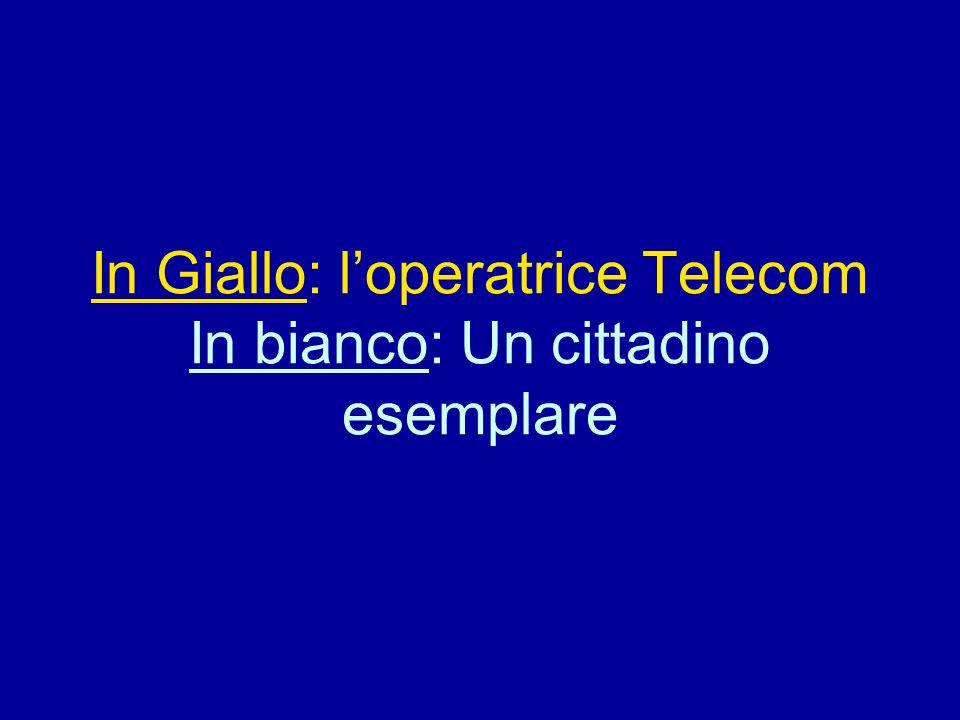 In Giallo: l'operatrice Telecom In bianco: Un cittadino esemplare