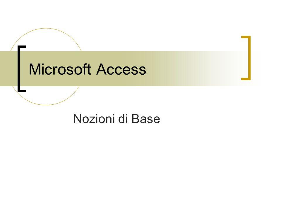 Microsoft Access Nozioni di Base