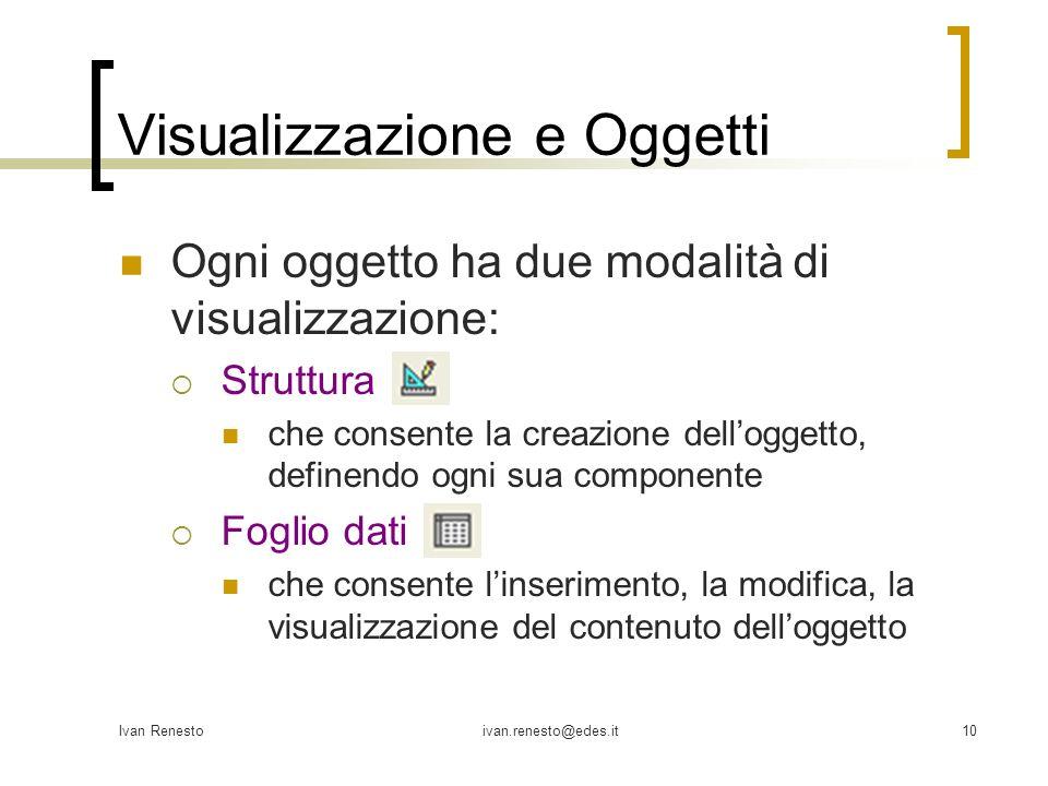 Visualizzazione e Oggetti