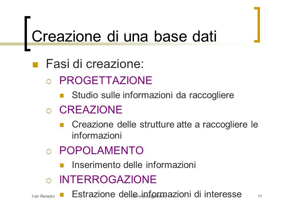 Creazione di una base dati