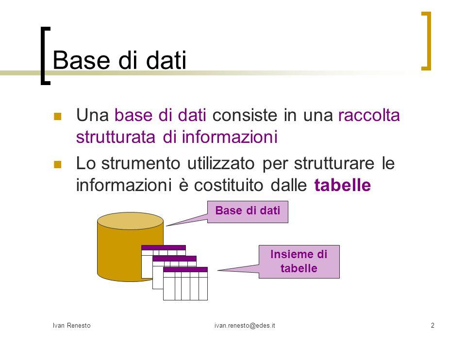 Base di dati Una base di dati consiste in una raccolta strutturata di informazioni.