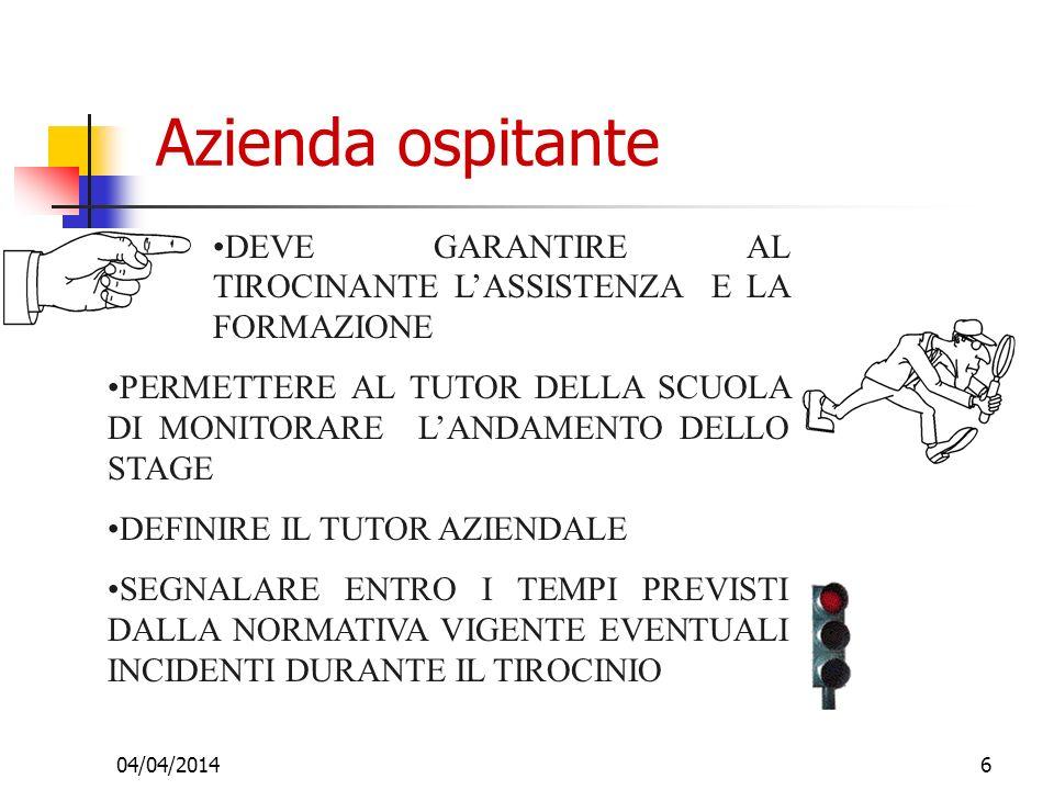 Azienda ospitante DEVE GARANTIRE AL TIROCINANTE L'ASSISTENZA E LA FORMAZIONE.