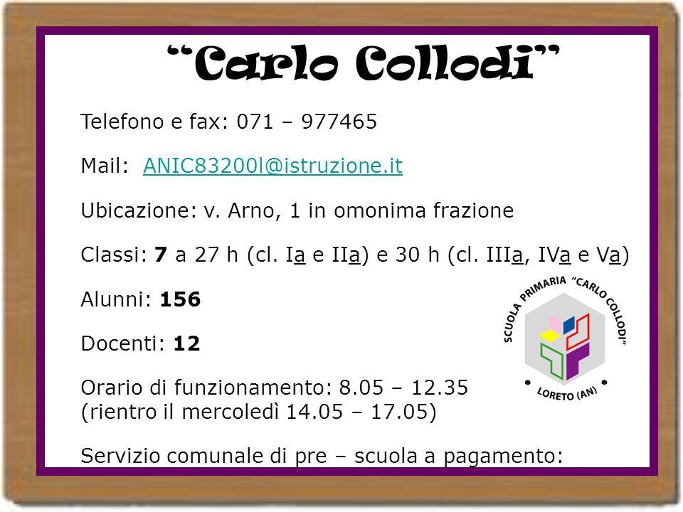 Carlo Collodi Telefono e fax: 071 – 977465